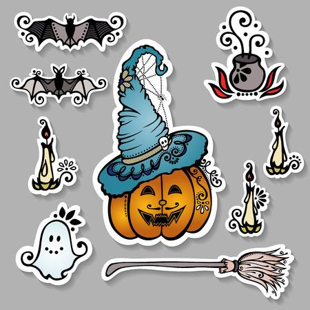 jack pot: Vector Conjunto de adornadas decoraciones de Halloween, Pegatinas con dibujos