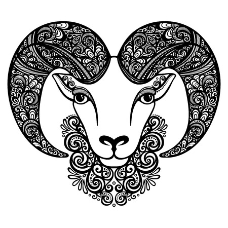 Vector Decorative Sheep with Patterned Horns. Patterned design