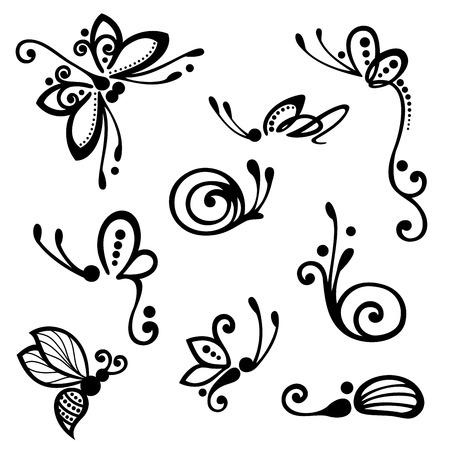 양식에 일치시키는 장식 곤충의 집합, 무늬 디자인 일러스트