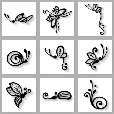 Vector Set of Stylized Ornamental Insects with Long Shadow, Patterned design Vector