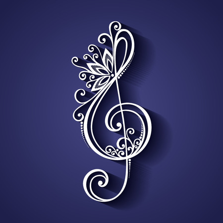 Vector Floral Decorative Treble Clef. Patterned Musical Sign Illustration