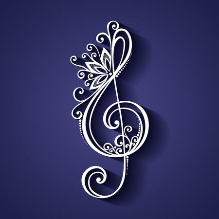 Vector floral décoratif Treble Clef. Connectez-vous à motifs musicale Banque d'images - 32714965