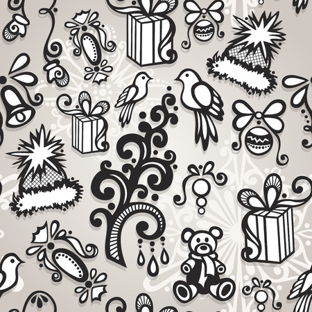 Vector Seamless Ornate Winter Pattern, Christmas Decorations Vector