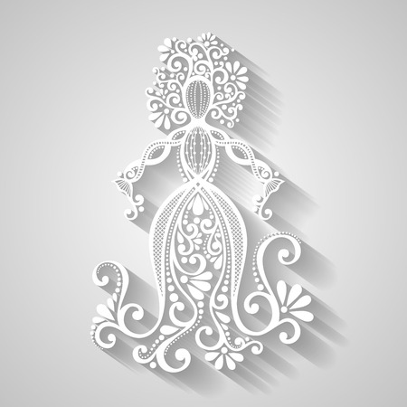 Vector Hand Drawing Silhouette of Floral Goddess. Patterned Design Vector