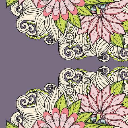 gentle background: Vector Colored Floral Background. Hand Drawn Texture with Flowers Illustration