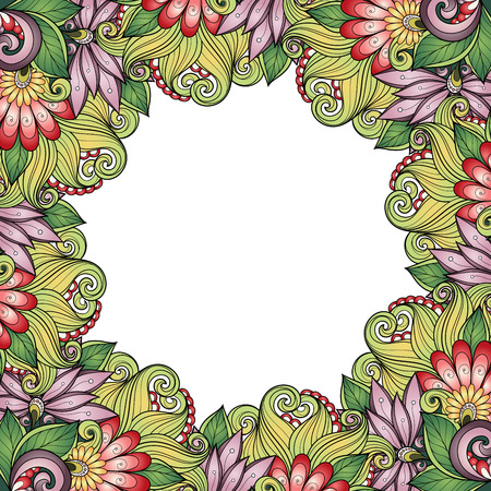 burgeon: Vector Colored Floral Background. Hand Drawn Texture with Flowers Illustration