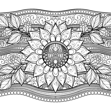 autumn colouring: Vector Monochrome Floral Background. Hand Drawn Texture with Flowers