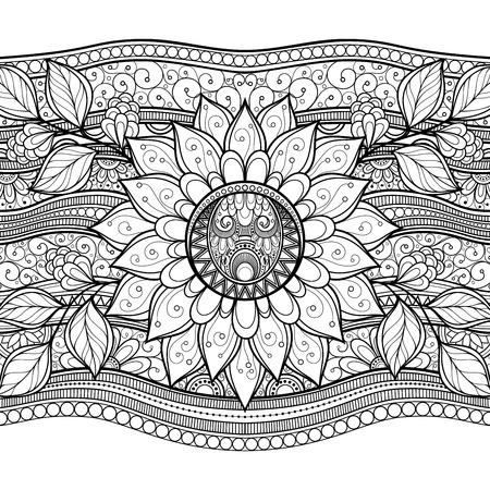 lijntekening: Vector zwart-wit Bloemen Achtergrond. Hand Getrokken Textuur met bloemen