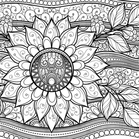 Vector Monochrome Floral Background. Hand Drawn Texture with Flowers Vector