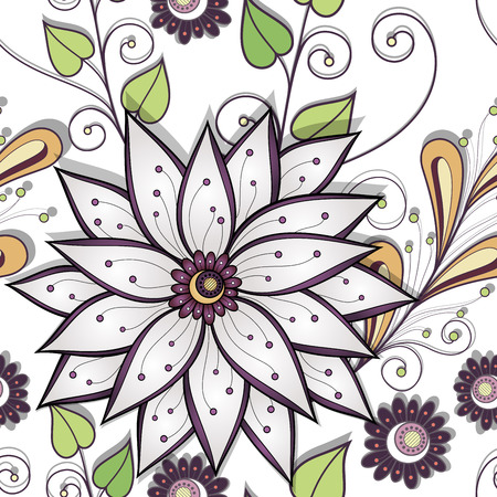 Seamless Floral Pattern (Vector). Hand Drawn Texture with Flowers Vector
