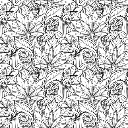Seamless Monochrome Floral Pattern (Vector). Hand Drawn Texture with Flowers Vector