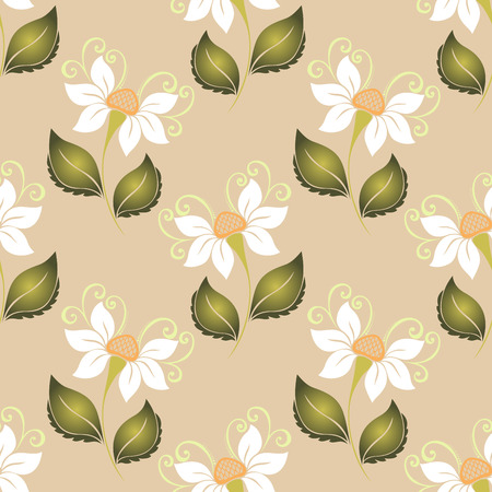 burgeon: Seamless Floral Pattern (Vector). Hand Drawn Texture with Flowers Illustration