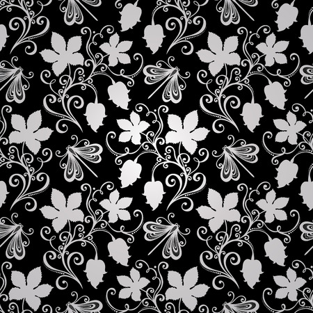 Seamless Floral Pattern (Vector). Hand Drawn Texture with Hop Vector