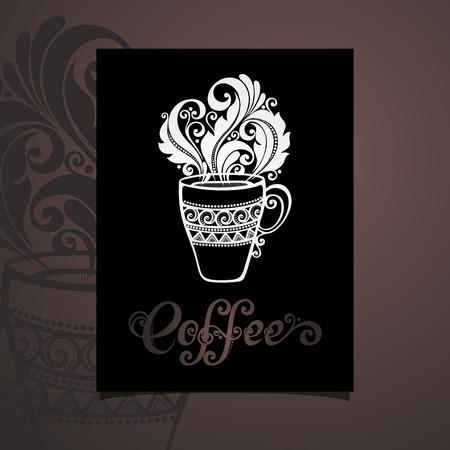 cutaway drawing: Vector Banner con tazza decorativi di caff� con vapore. Coffee Design Vettoriali