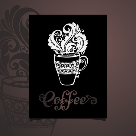 cutaway drawing: Vector Banner with Decorative Cup of Coffee with Steam. Coffee Design Illustration