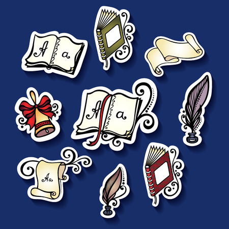 Vector Set of Stickers with School Supplies, Patterned design Vector