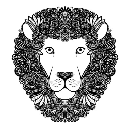 Vector Decorative Lion with Patterned Mane Vector