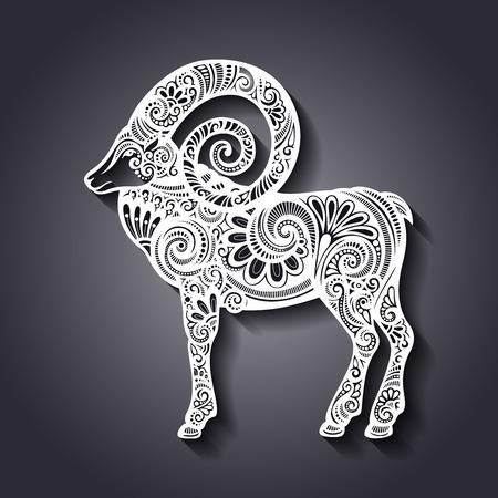 geit: Vector decoratieve Patterned Schapen Stock Illustratie