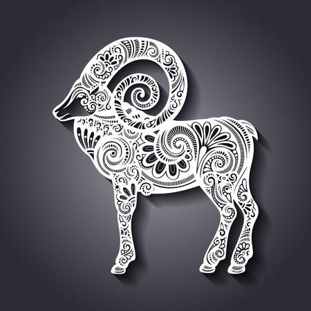 wild goat: Vector decorativo Ovejas Patterned