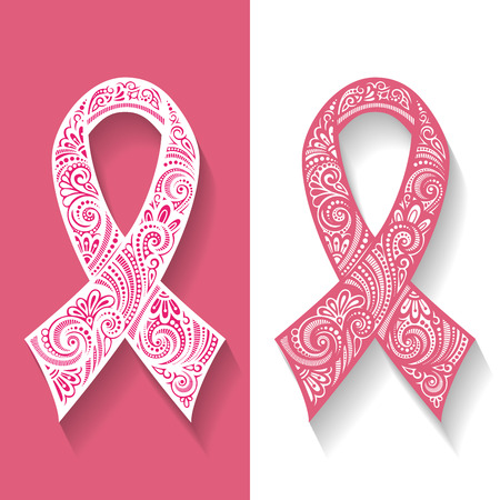 Vector Ornate Emblem, Ribbon of Breast Cancer