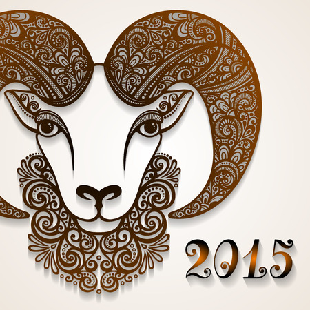 Vector Decorative Sheep with Patterned Horns. Symbol of 2015 Vector