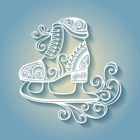 Beautiful Ornate Winter Skates (Vector), Patterned design Vector