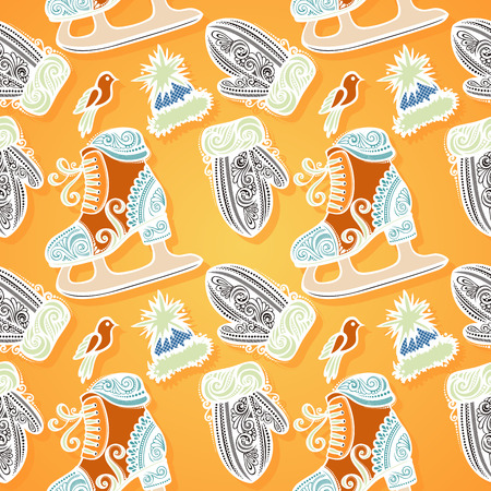 Seamless Ornate Winter Pattern (Vector), Warm Slothing Vector