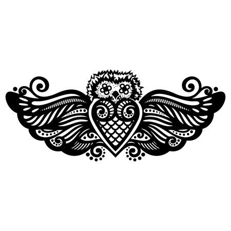 owl tattoo: Vector Patterned Owl. Tattoo Design