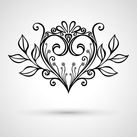 Vector Deco Floral Heart on Gray Background. Design element