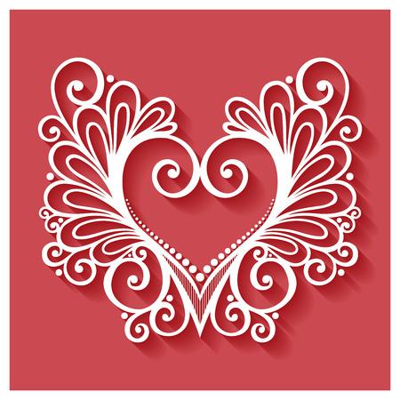 floral heart: Vector Deco Floral Heart on Red Background. Design element Illustration