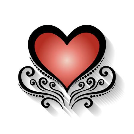 Vector Deco Floral Heart. Design element Illustration