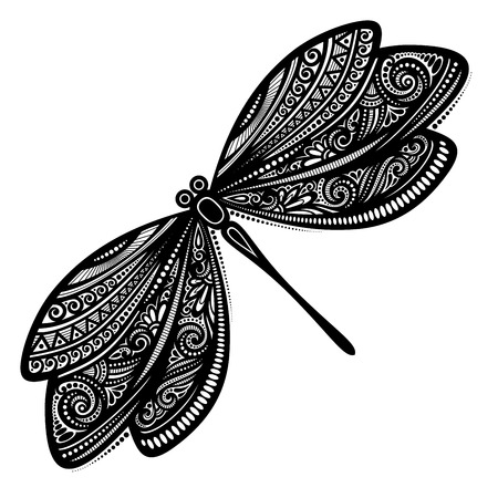 Vector Beautiful Dragonfly, Exotic Insect. Patterned design, Tattoo Çizim