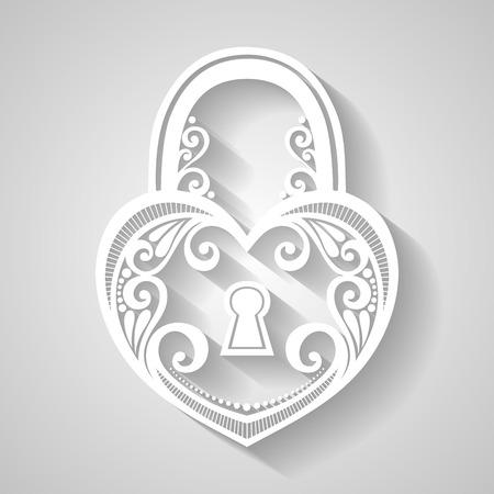 black and white lock: Vector Vintage Ornate Lock. Patterned Design
