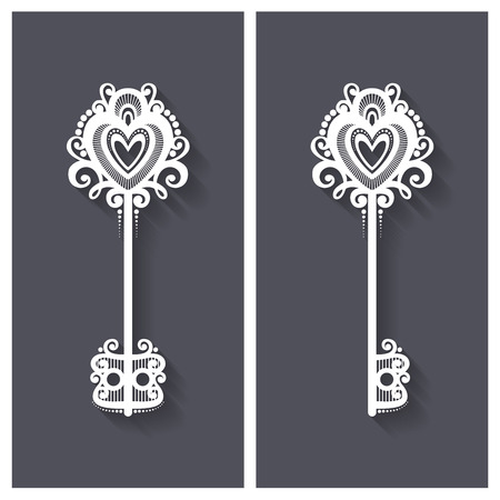 Vector Ornate Antique Key with Long Shadow