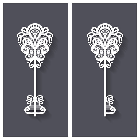 secret love: Vector Ornate Antique Key with Long Shadow