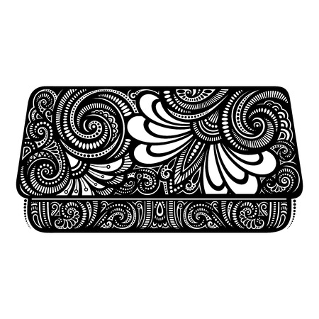 changing room: Vector Decorative Ornate Womens Clutch. Hand Drawing Patterned Design