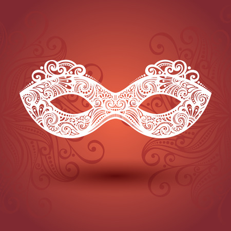 masquerade mask: Beautiful Masquerade Mask (Vector) on Ornate Background
