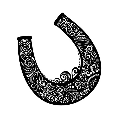 horseshoe: Vector St. Patricks Day Symbol, Lucky Horseshoe. Hand Drawing Patterned Design