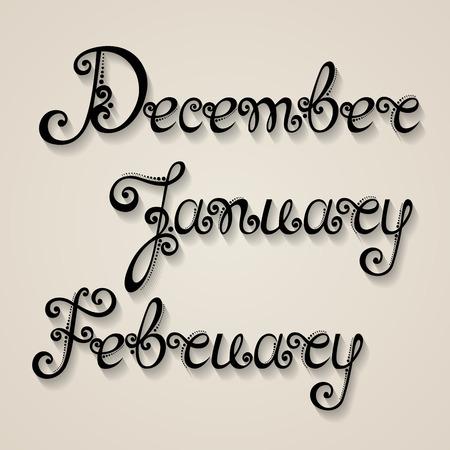 months: Vector Set of Names of Months, Winter. Ornate Vintage Lettering