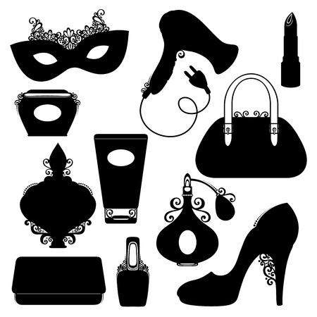 perfumery: Vector Set of Womens Stuff Utensils. Shoe with High Heel, Womans Handbag, Nail Polish, Hairdryer, Lipstick, Perfume, Mask, Clutch, Bank of Face Cream, Tube of Cream