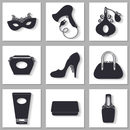 lipstick tube: Vector Set of Icons With Womens Stuff. Shoe with High Heel, Womans Handbag, Nail Polish, Hairdryer, Lipstick, Perfume, Mask, Clutch, Bank of Face Cream, Tube of Cream