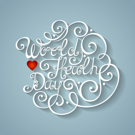 Vector World Healh Day Inscription, Holiday Symbol. Hand Drawn Lettering. Ornate Vintage Lettering Vector