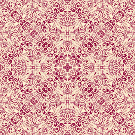 vitrage: Seamless Vintage Lace Pattern (Vector). Hand Drawn Ethnic Texture
