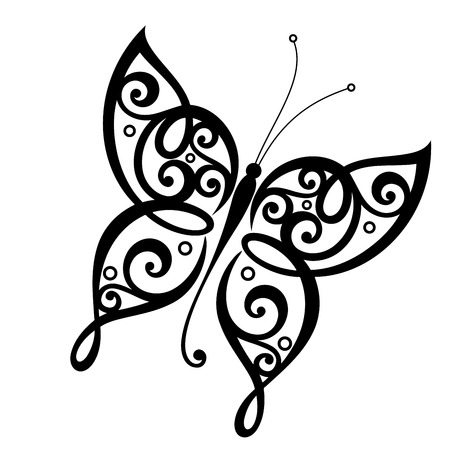 Vector Beautiful Butterfly, Exotic Insect. Gevormd ontwerp, Tattoo Stockfoto - 37958285