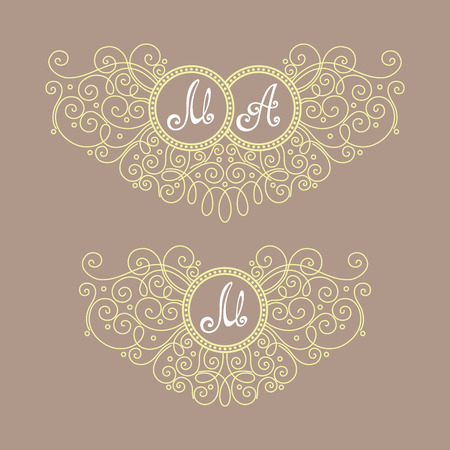 royal wedding: Vector Vintage Template with Ornate Monogram. Hand Drawn Border in Trendy Linear Style