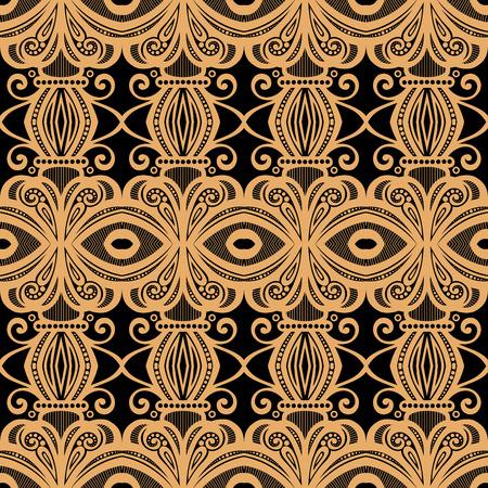 batik pattern: Seamless Vintage Lace Pattern (Vector). Hand Drawn Ethnic Texture