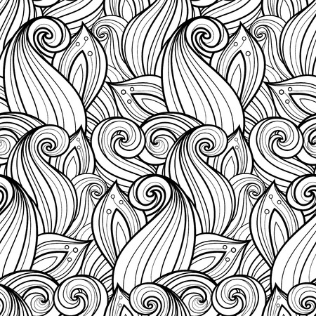 Seamless Monochrome Floral Pattern (Vector). Hand Drawn Floral Texture, Decorative Flowers, Coloring Book