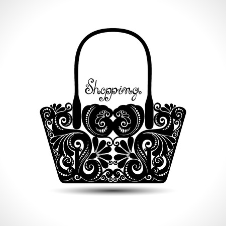 lady shopping: Vector Decorative Ornate Womens Bag. Template of Sale Flyer