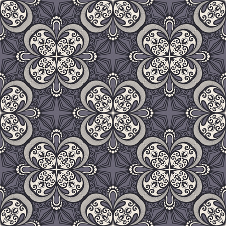 crocheted: Seamless Vintage Lace Pattern (Vector). Hand Drawn Tile Texture, Ethnic Ornament