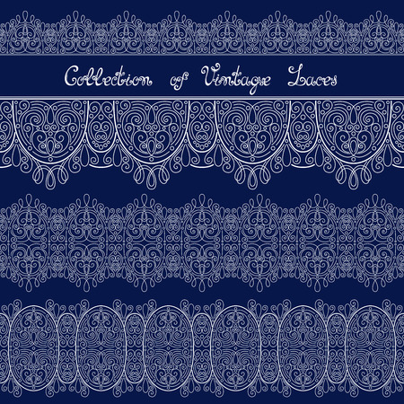 Vector Set of Vintage Template with Ornate Laces. Hand Drawn Borders in Trendy Linear Style. Wedding Decor Vector